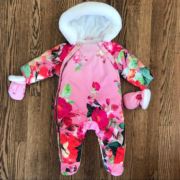 e617b32fe Baker by Ted Baker Pink Floral Snowsuit
